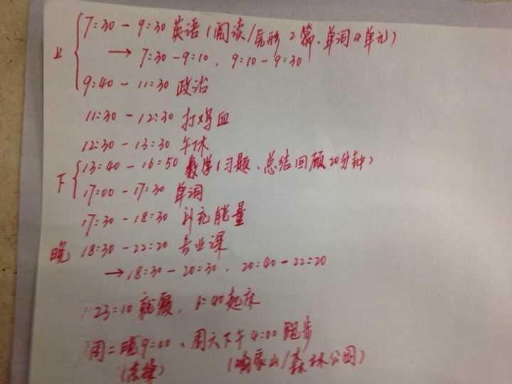 图2.华科国防生学长的日常作息计划图片(已征六木学长同意)