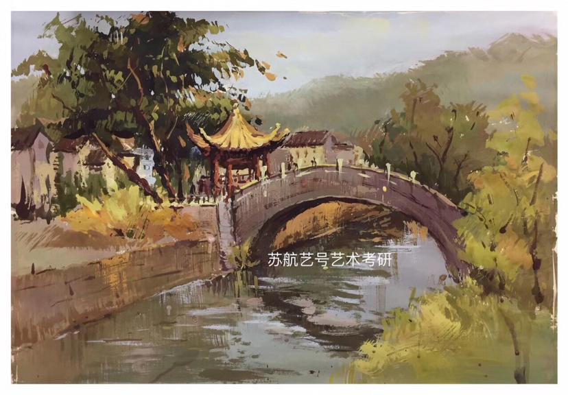 苏州大学艺术考研水粉色彩风景优秀画作